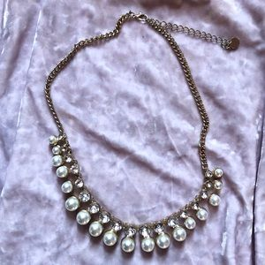 Gold Pearl and Diamond Statement Necklace